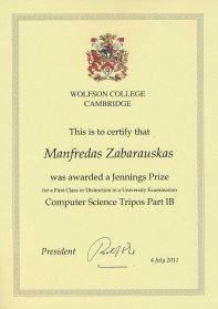 University of Cambridge, Jennings Prize