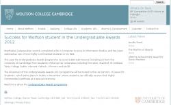 Wolfson College News, University of Cambridge